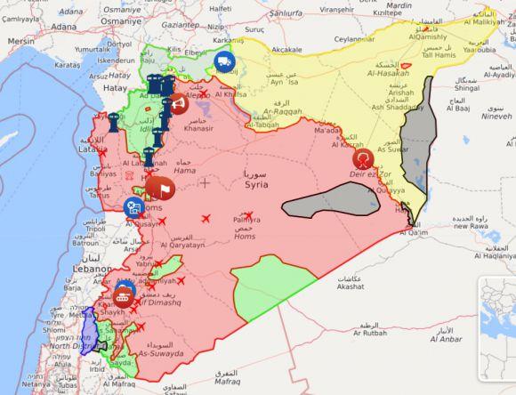Карта боевых действий в Сирии - Новости из Сирии - syria.liveuamap.com/ru