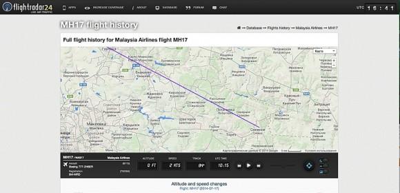 Маршрут авиалайнера, следовавшего рейсом MH17, на сайте FlightRadar24.com