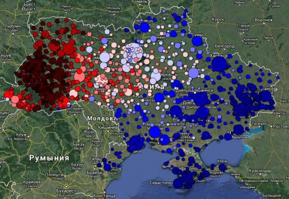 Соотношения пользователей выставивших в своём профиле Вконтакте родным языком русский (синий) или украинский (красный)