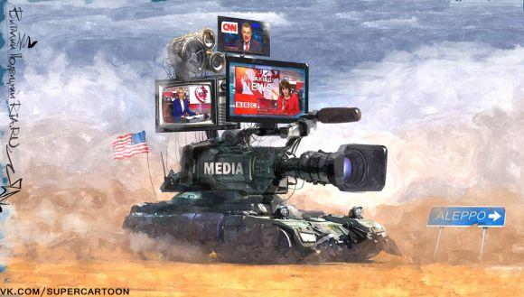 Западный медиатанк едет на Алеппо