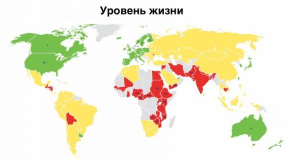 Страны по уровню жизни (жёлтый выше красного, зелёный выше жёлтого)