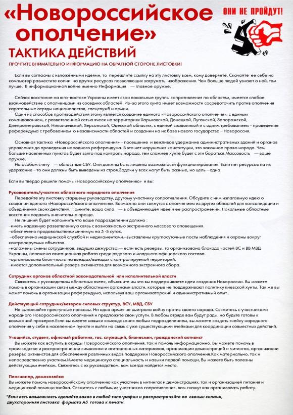 Листовка сторонников проекта «Новороссия»