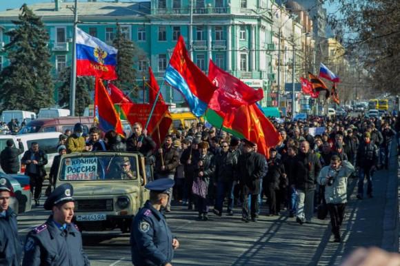 Пророссийский митинг в Днепропетровске9 марта 2014г.