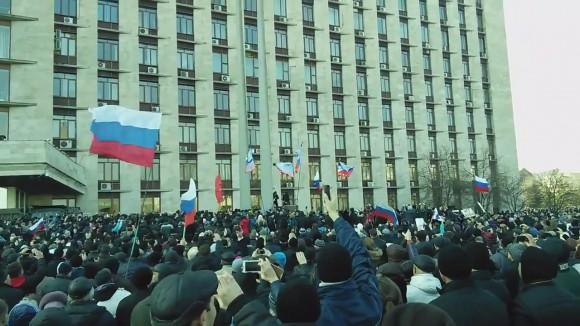 Пророссийский митинг в Донецке 9 марта 2014г.