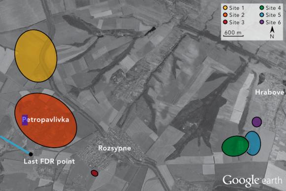 Соответствующие (по цвету) места нахождения обломков