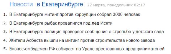 Яндекс.Новости 28 марта, ночь, Екатеринбург