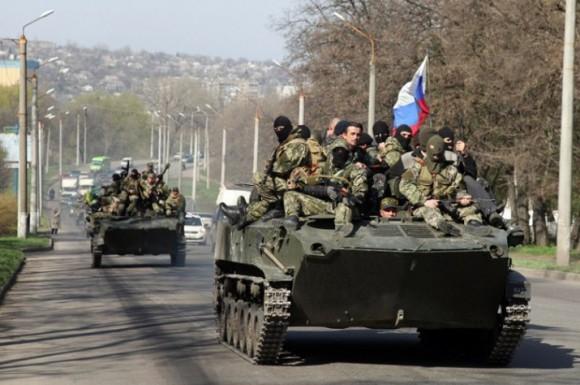 Некоторые БМД при заходе в Славянск перешли на сторону добра (апрель 2014г.)