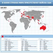В каких странах мира присутствуют войска США (2009)