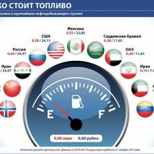 Сколько стоит топливо (средняя цена бензина в крупнейших нефтедобывающих странах) (2010)