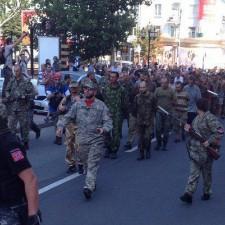 Парад пленных украинской хунты на день независимости Украины от СССР 24 августа 2014г. в Донецке