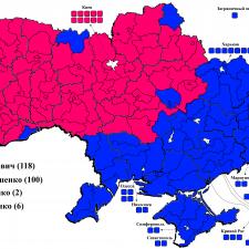 Распределение голосов на выборах президента Украины в 2010г.
