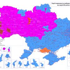 Распределение голосов на парламентских выборах на Украине в 2012г.